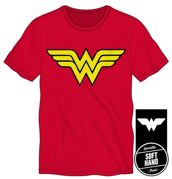 DC Comics Wonder Woman Logo Specialty Soft Hand Print Men's Red T-Shirt - poshopolis