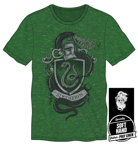 Harry Potter Hogwarts House of Slytherin Crest & Knight Helmet Men's Green T-Shirt - poshopolis