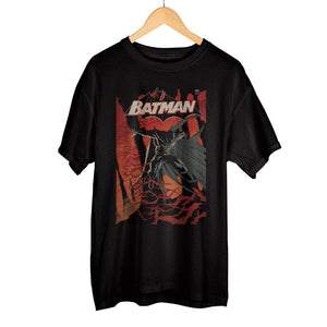 Classic Batman DC Comic Book Cover Artwork Men's Black Graphic Print Boxed Cotton T-Shirt - poshopolis