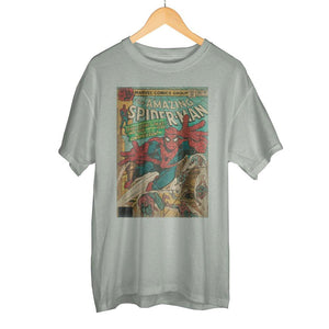 Vintage Spider-Man Marvel Comic Book Cover Artwork Men's Grey Graphic Print Boxed Cotton T-Shirt