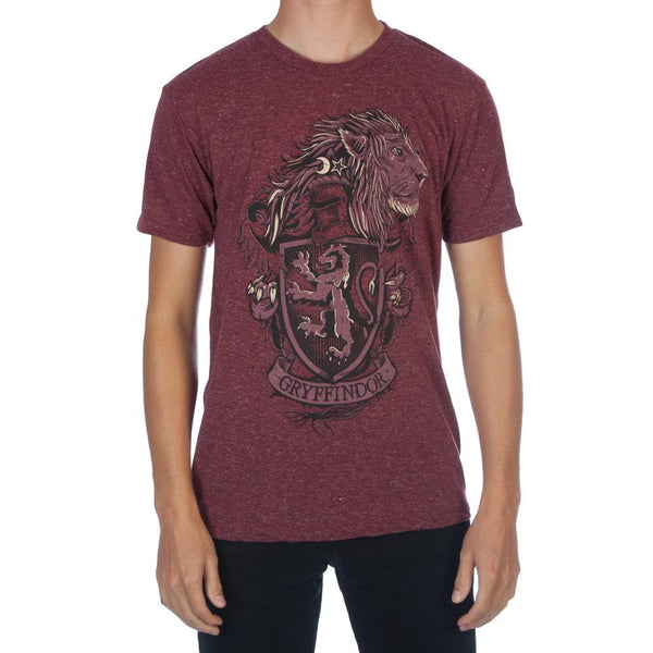 Harry Potter Hogwarts House of Gryffindor Crest & Lion Men's Burgundy T-Shirt - poshopolis