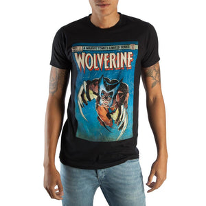 Retro Wolverine Marvel Comic Book Cover Artwork Men's Black Graphic Print Boxed Cotton T-Shirt - poshopolis
