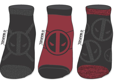 Set of 3 Deadpool Insignia Socks, Marvel Juniors Ankle Sock Set, Comics Movie Print - poshopolis