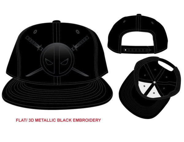 Deadpool and Twin Katanas Cap, Black Hat with Embroidered Design, Marvel Movie - poshopolis