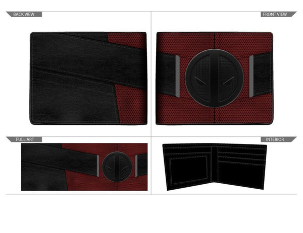 Red and Black Deadpool Uniform BiFold Wallet, Marvel Anti-Hero Costume Style Wallet, ID Holder - poshopolis