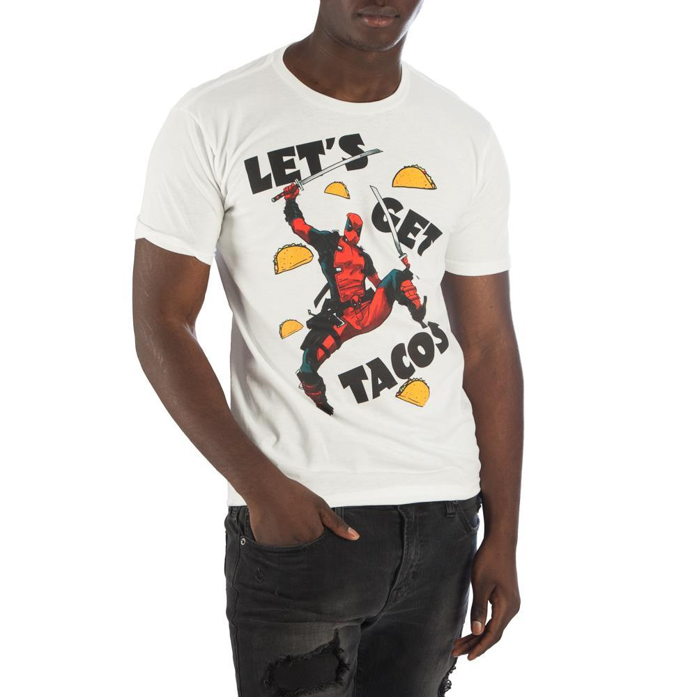 Deadpool Let's Get Tacos Men's White T-Shirt Tee Shirt - poshopolis