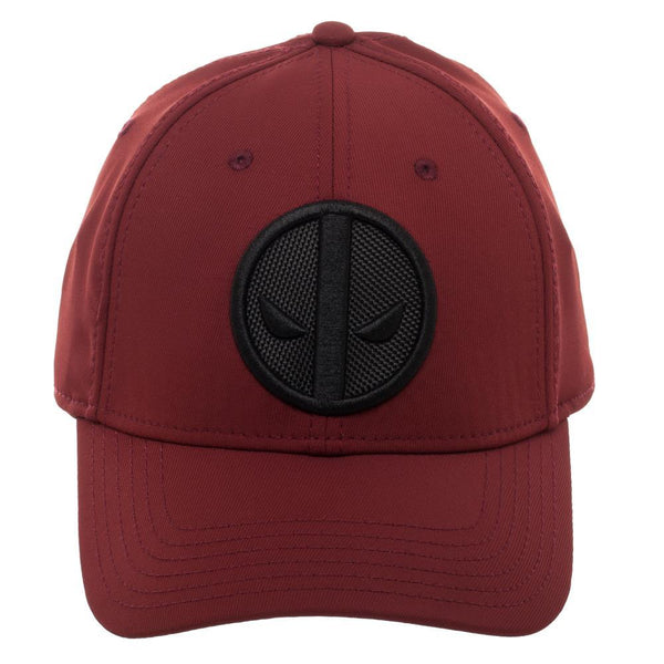 Marvel Deadpool Red Logo Flatbill, Black Patch Insignia with Stitching, Merc With A Mouth - poshopolis