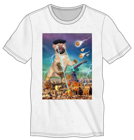 Superman-like Dog Attacks Paris Men's White T-Shirt