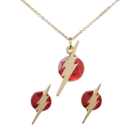 the flash necklace and earrings