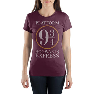 Harry Potter Platform Nine and Three-Quarters 9 3/4 Hogwarts Express Women's Burgundy T-Shirt - poshopolis