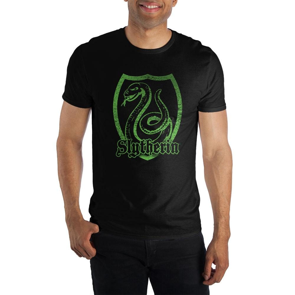 Harry Potter Slytherin Logo Specialty Soft Hand Print Men's Black T-Shirt - poshopolis