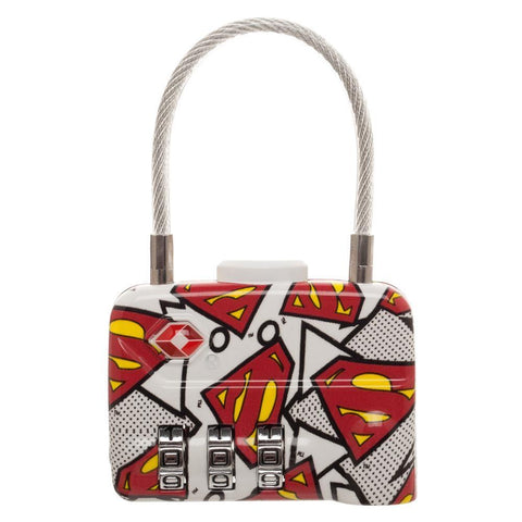DC Comics Superman Logo TSA Approved Travel Combination Cable Luggage Lock for Suitcase Baggage - poshopolis