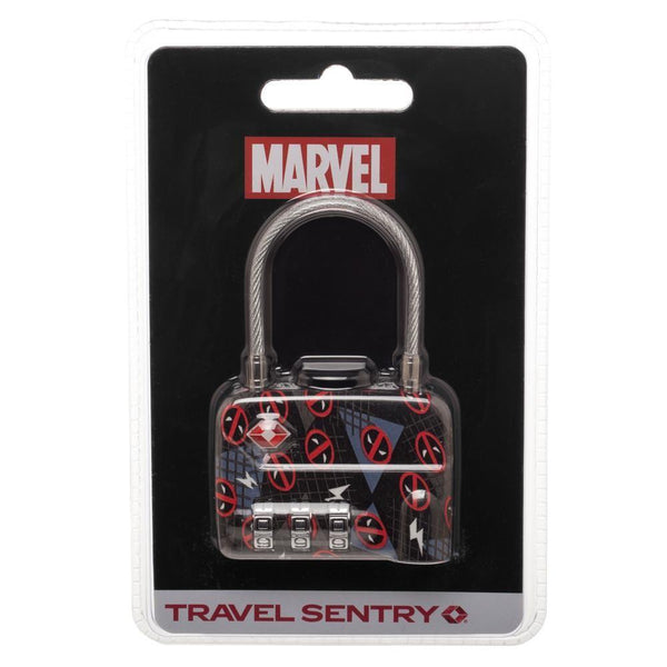 Marvel Comics Deadpool Logo TSA Approved Travel Combination Cable Luggage Lock for Suitcase Baggage