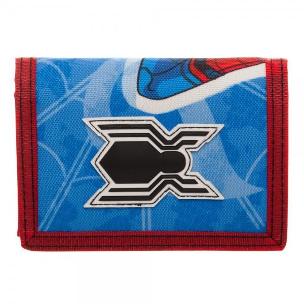 Spiderman Homecoming Tri-Fold Velcro Wallet with Rubber Patch - poshopolis