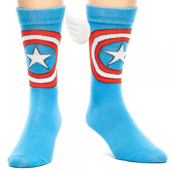 Marvel Captain America Crew Socks with Wings - poshopolis