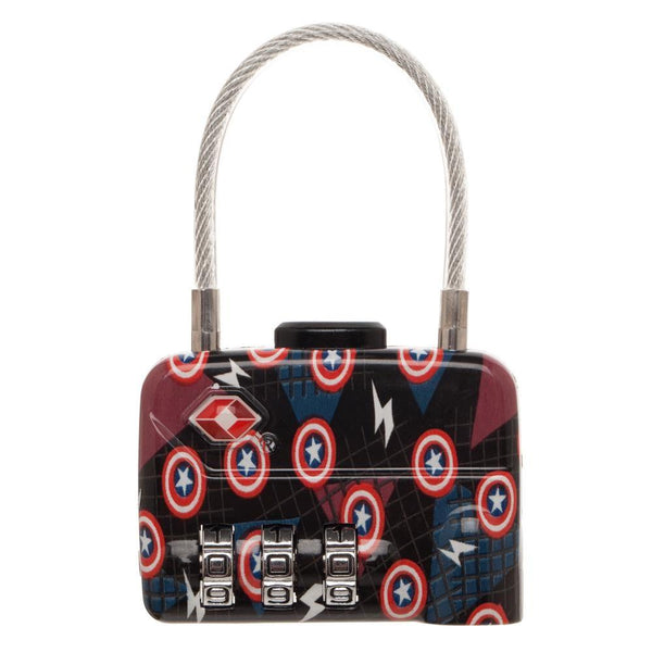 Marvel Comics Captain America Logo TSA Approved Travel Combination Cable Luggage Lock for Suitcase Baggage - poshopolis