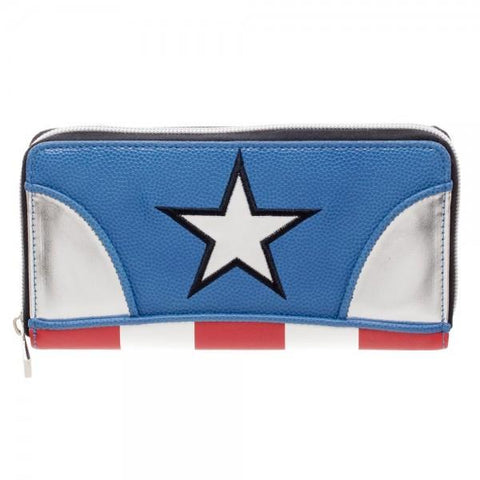 Marvel Captain America Juniors Zip Around Wallet - poshopolis
