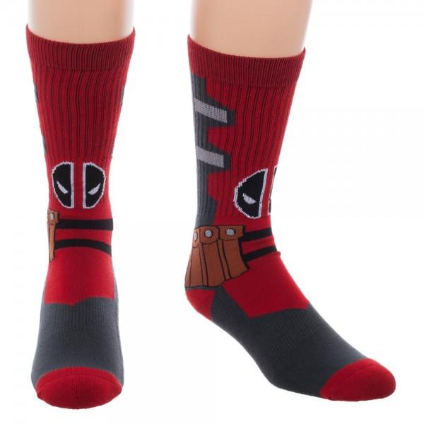 Marvel Deadpool Suit Up Crew Socks - poshopolis