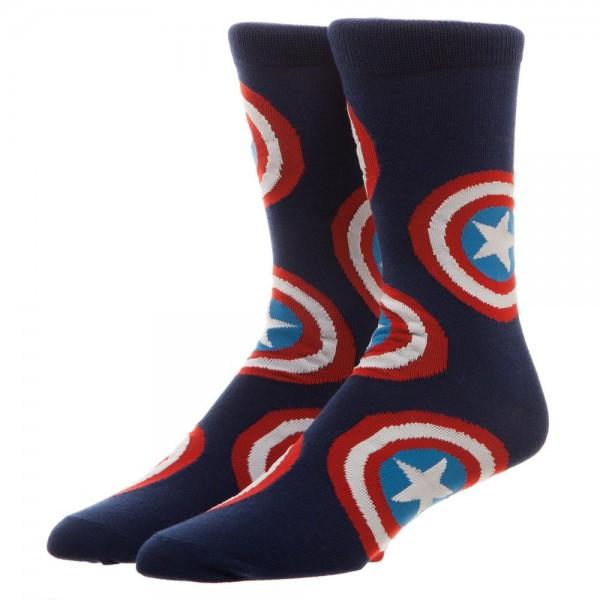 Marvel Captain America Large All Over Print Crew Socks - poshopolis
