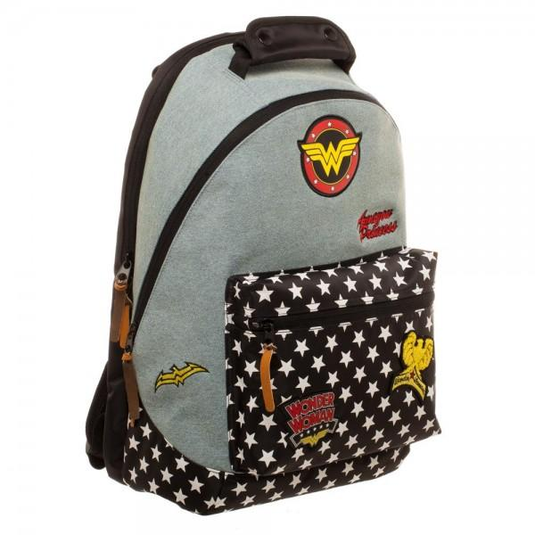 DC Comics Wonder Woman Denim Backpack with Patches - poshopolis