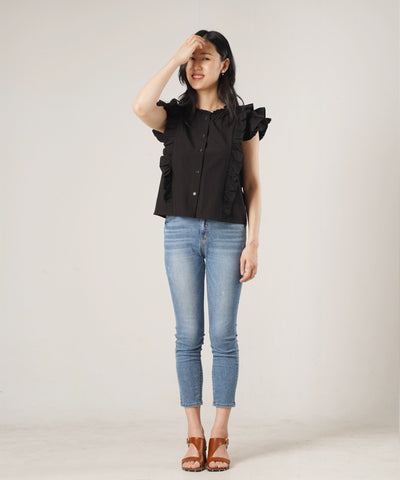 Lady Frilly Sleeve Blouse - Black - Rora