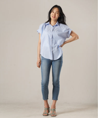 Lady Striped Shirt Blouse - Sky blue - Rora