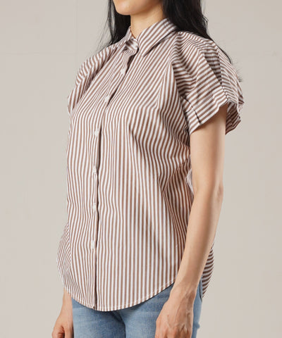 Lady Striped Shirt Blouse - Beige brown - Rora