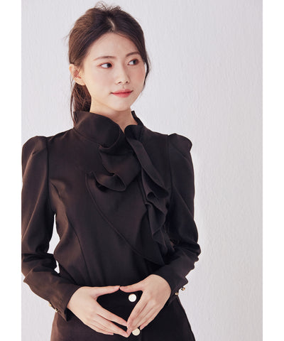 [10/29より発送] LadyRora【Structured Volume Ruffle Blouse】BLACK - Rora