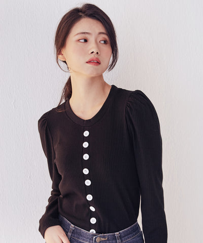 LadyRora 【Puff Sleeve Slim-Fit Knit Top】BLACK - Rora