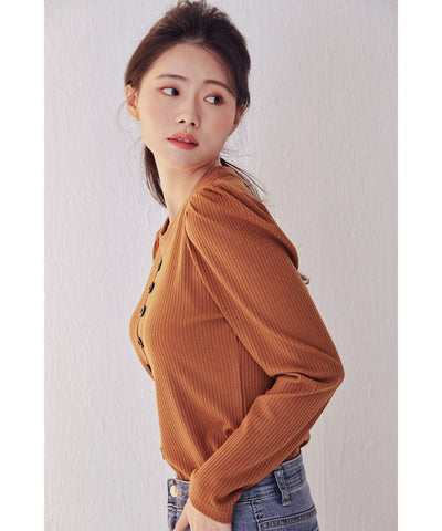LadyRora【Puff Sleeve Slim-Fit Knit Top】CAMEL - Rora