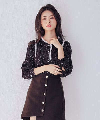 LadyRora 【Frill Neck One Side Front Pintuck Polka Dot  Blouse】 - Rora