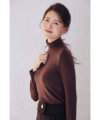 LadyRora【Stretch Slim Turtleneck Top】BORDEAUX - Rora