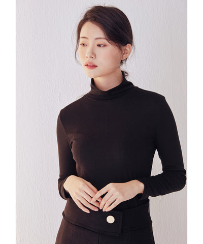 LadyRora【Stretch Slim Turtleneck Top】BLACK - Rora