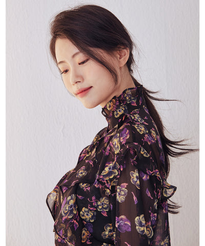 LadyRora【Romantic Ruffle Floral See-through Blouse】 - Rora