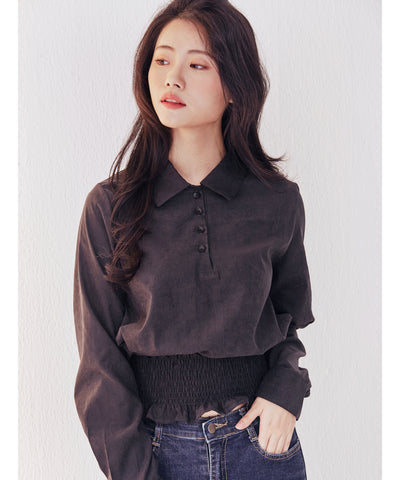 [10/29より発送] LadyRora 【Waist Flexible Smocked Cropped Top】BLACK - Rora