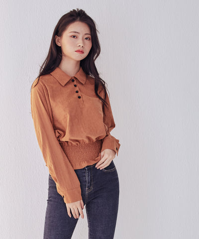 LadyRora 【Waist Flexible Smocked Cropped Top】CAMEL - Rora