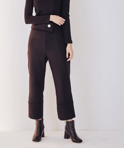LadyRora【Cropped Stretch Felt Straight-Leg Pants】BLACK - Rora