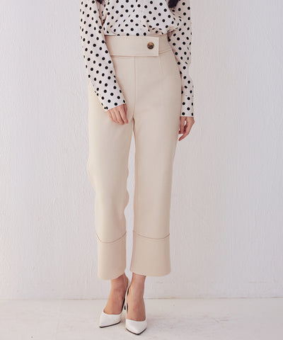 LadyRora【Cropped Stretch Felt Straight-Leg Pants】CREAM - Rora