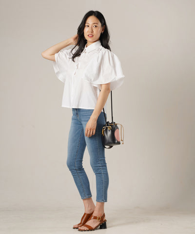 Lady Flare Sleeve Shirts Top - White - Rora