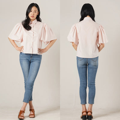 Lady Flare Sleeve Shirts Top - Pink - Rora