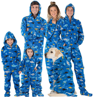 Family Matching Shark Frenzy Hoodie Fleece Onesie