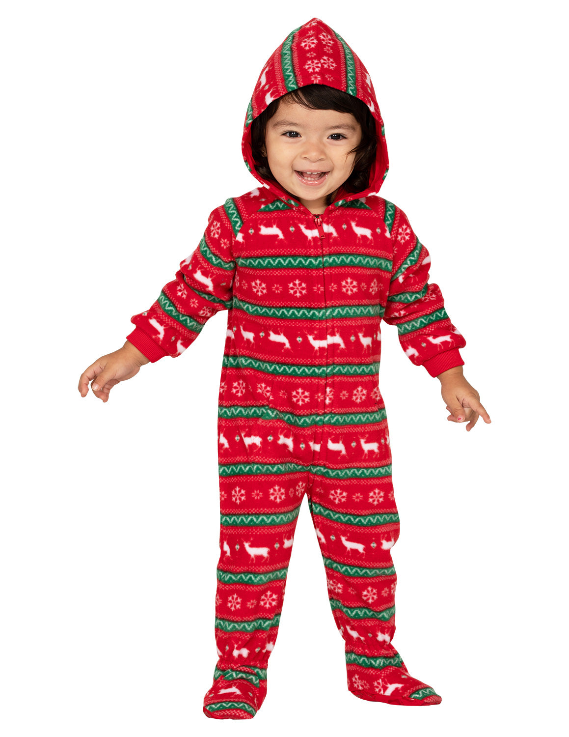 Nordic Christmas Infant Hoodie Fleece Onesie