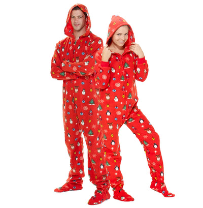 Family Matching Holly Jolly Hoodie Fleece Onesie