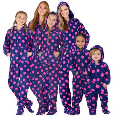 Family Matching Navy Pink Polka Hoodie Chenille Onesie