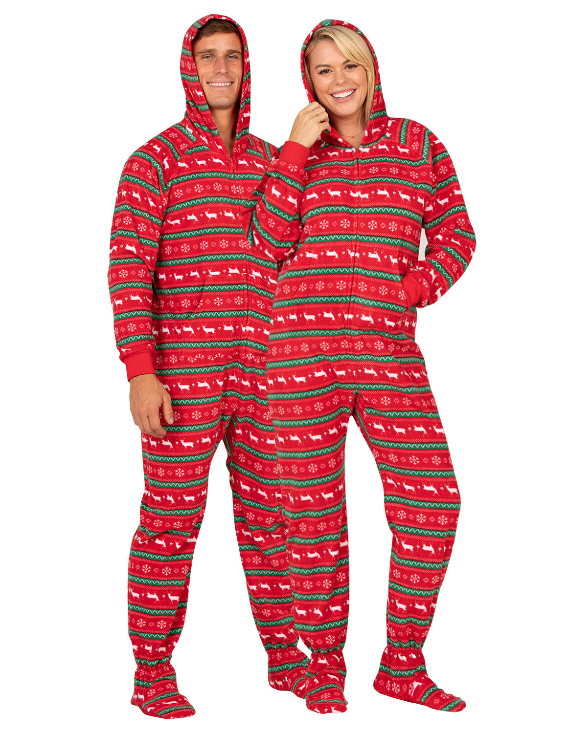 Nordic Christmas Adult Hoodie Fleece Onesie