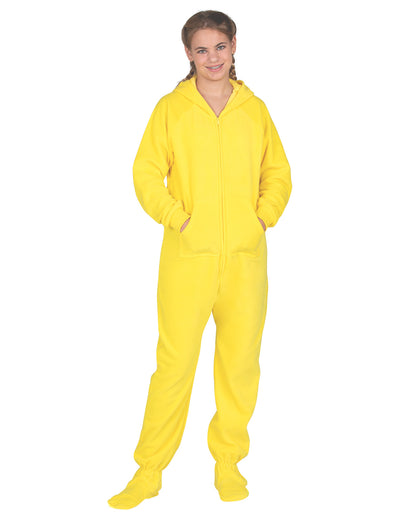 Lemon Yellow Kids Hoodie Fleece Onesie
