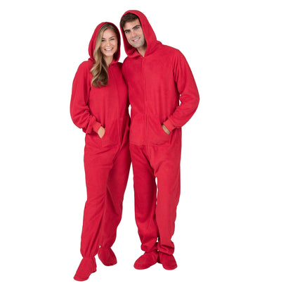 Family Matching Bright Red Hoodie Fleece Onesie