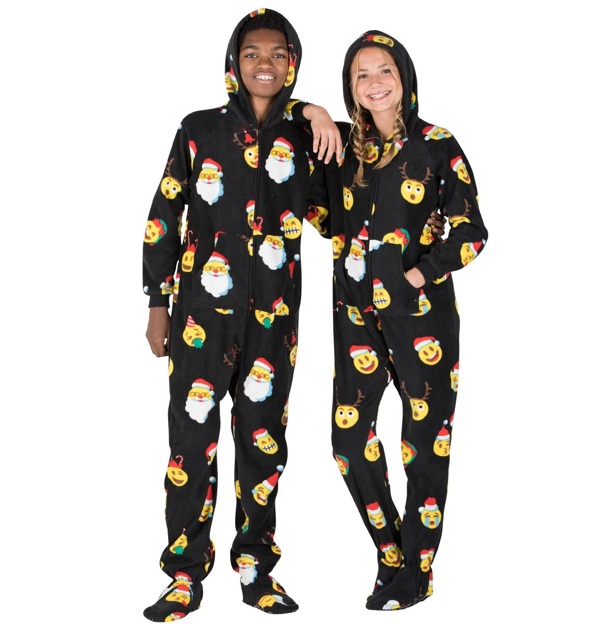 Family Matching Merry Emoji Fleece Onesie