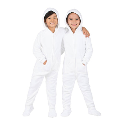 Family Matching Arctic White Hoodie Fleece Onesie