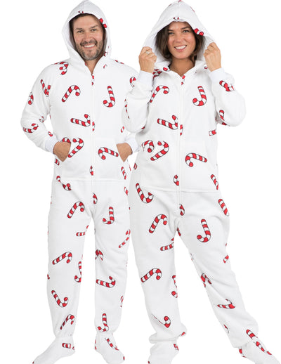 Candy Cane Lane Adult Hoodie Chenille Onesie
